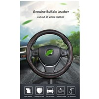 38cm Genuine Leather Car Steering Wheel Cover