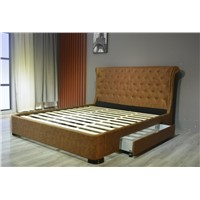 Genuine Leather PU Drawer Bed Wooden Furniture