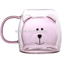 New Design Colorful Bear Shape Double Wall Glass Cup Pink Double Walled Glass Mug with Handle
