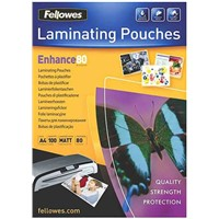 Fellowes A4 Matte Lamination Pouch 80micron, 100