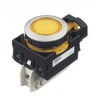 Idec, CW, Panel Mount Yellow LED Pilot Light, 22mm Cutout, IP66, Round, 6 A