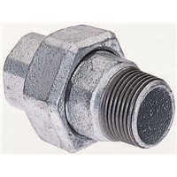 Georg Fischer Malleable Iron Fitting Taper Seat Union, 1 in BSPT Male (Connection 1), 1 in BSPP Female (Connection 2)