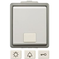 Grey 10 A Surface Mount Push Button Light Switch Dark Grey, 1 Way Clip In Gloss, 1 Gang VDE, 230 V 75mm Neon IP44 2 1