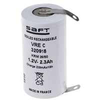 Saft NiCd Rechargeable C Batteries, 2.55Ah