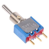 APEM SPST Toggle Switch, (On)-Off-(On), PCB