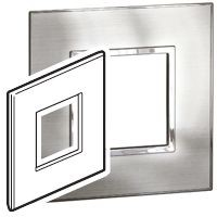 Legrand Stainless Steel 1 Gang Cover for Support Frame Metal Cover Plate