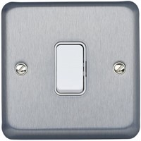 Chrome 10 A Flush Mount Plate Light Switch, 2 Way Screwed Brushed, 1 Gang BS Standard 86mm 1, Albany Plus Screw
