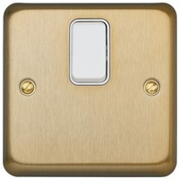 Gold 20 A Flush Mount Double Pole Light Switch Screwed Satin BS Standard 86mm 1 2, Albany Plus Screw