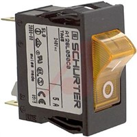 Schurter Snap In Circuit Breaker Switch - 220  240V Voltage Rating, 5A Current Rating