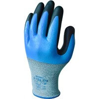 Showa Polyester, Stainless Steel Nitrile-Coated Gloves, Size 7, Blue, Cut Resistant