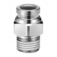 SMC Pneumatic Straight Threaded-to-Tube Adapter Stainless Steel